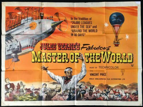 Master of thh World ORIGINAL Quad Movie Poster Jules Verne Vincent Price 1961