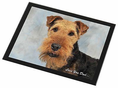 Welsh Terrier Dog 'Love You Dad' Black Rim Glass Placemat Animal Tabl, DAD-136GP