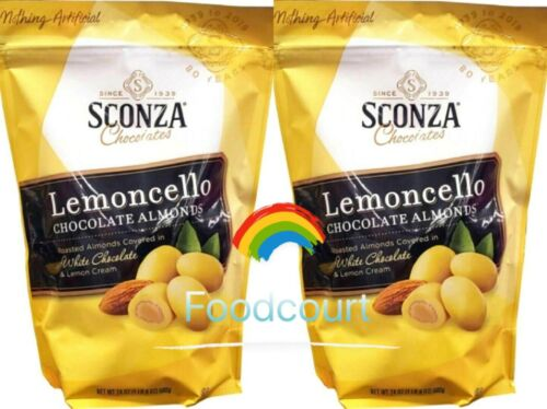 2 Packs Sconza Lemoncello Chocolate Almonds 24 oz Each Pack, Exp. 2/2/2022