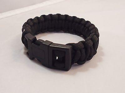 Black Paracord Survival Bracelet hiking fishing bushcraft wristband camping