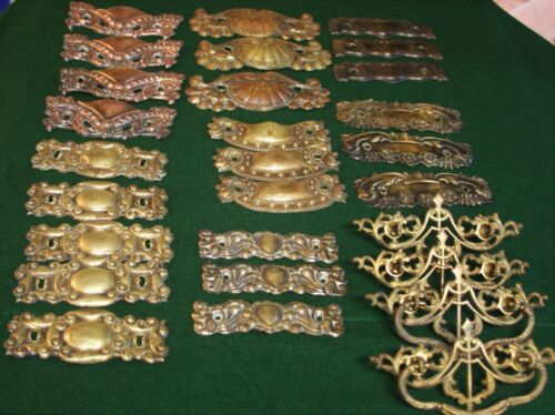 28  VINTAGE PRESSED and CAST BRASS DRESSER DRAWER PULLS  ^1921