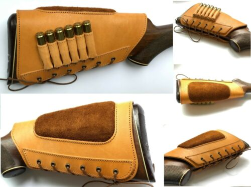 Leather Buttstock Rifle Ammo Cartridge Holder Cheek Rest Hunting Left Right