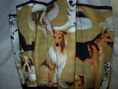 BREEDS OF DOGS  FAVORITE   PRINT CLOTH BINGO BAG HANDMADE