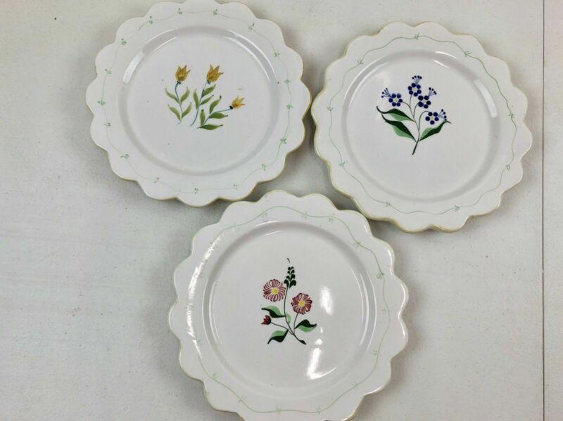 3 Flowered Dessert Plates Scalloped Edge Antique Cake Plates