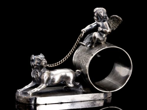 Victorian Silver Plate Figural Napkin Ring Cherub Driving Dog Tufts #1543
