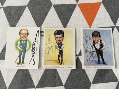3 Snooker Caricatures - Signed by Willie Thorne, Parrott and Robidoux
