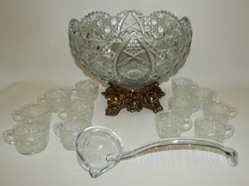 Vintage LE Smith Glass Daisy & Button Punch Bowl Set w/ Metal Base, Cups & Ladle