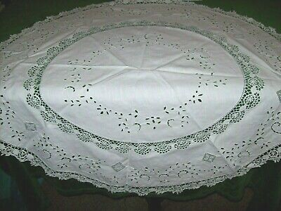 Vintage/Antique Hand crafted Tea Tablecloth-White Lace & Embroidery,36