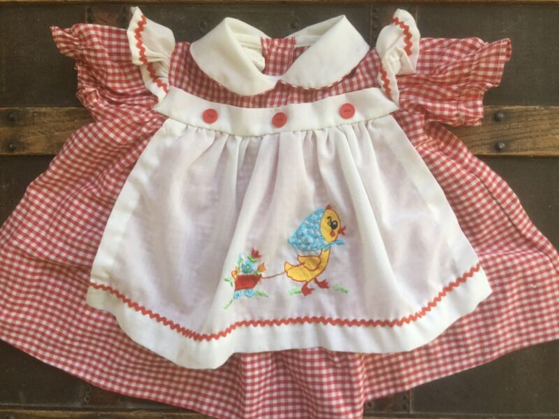 Vintage Baby Girl Red & White Checked Dress Embroidered Duck Pinafore Apron 6/9m