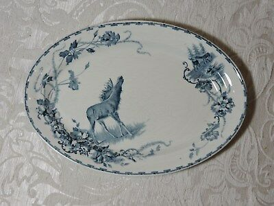 Elg Pattern Platter Decorated with Elk Goteborgs Porsilinfabrik Sweden 1905-1910
