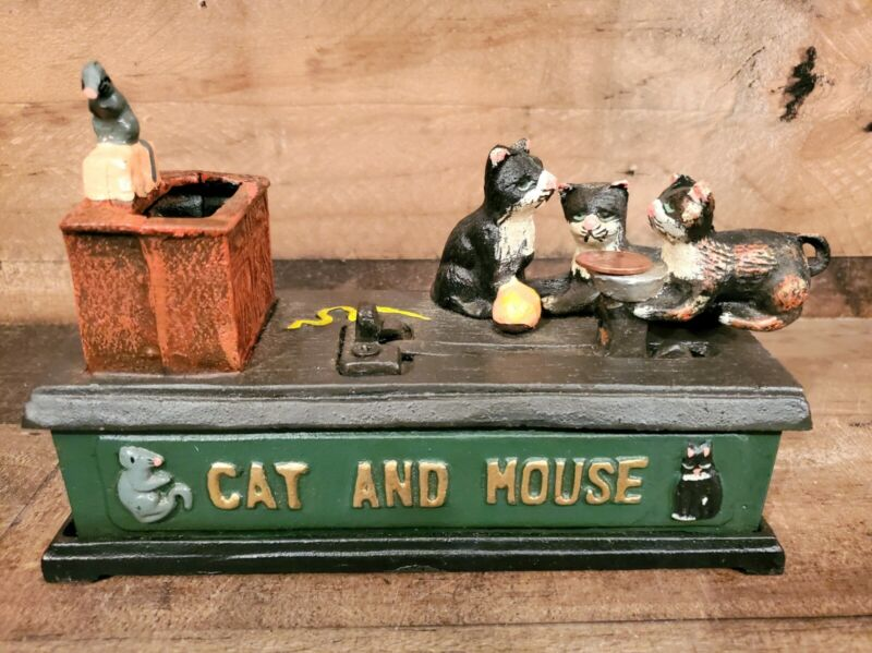 Reproduction Cast Iron Mechanical Cat And Mouse Decorative Coin Bank