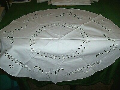Vintage/Antique  Tea Tablecloth-White Open Work & Embroidery,32