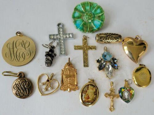 VTG Pendant Jewelry Lot Cross Locket Monogram Rhinestone Heart Gold Silver Tone