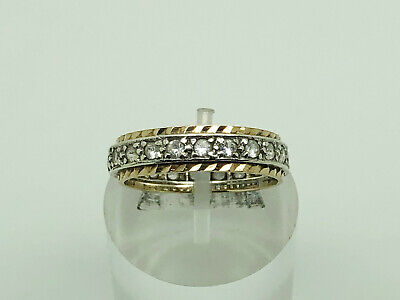 Vintage 1978 9ct White & Yellow Gold White Spinel Eternity Band Ring Size O 1/2