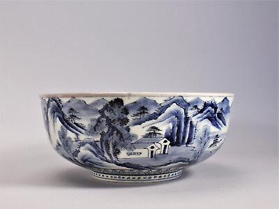 Antique Arita Imari Blue White Large Bowl Japanese Porcelain Mountain Landscape