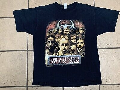 KORN / DISTURBED POP SUX 2002 Tour Shirt XL ( couple holes AS IS ) 18 Years Old