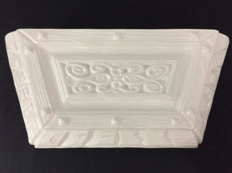 Vintage White Ceramic Wall Pocket Planter