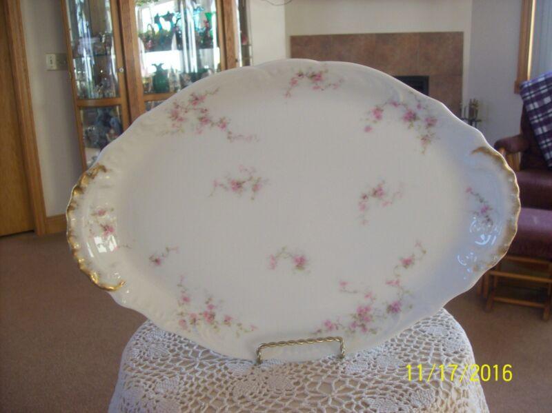 Limoges France Antique Porcelain Pink Floral Serving Platter Theodore Haviland