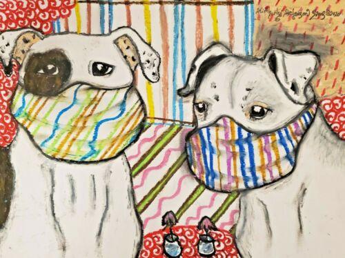 American Bulldog Art Print 5 x 7 Quarantine Collectible Signed by Artist KSams