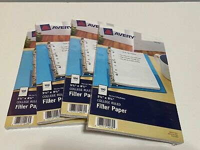 4 Avery Mini Binder Filler Paper 5-12 X 8 12 7 Hole Punch College Rule 100 Pg