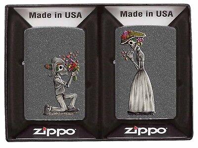 Zippo Lighter: Day of the Dead Skulls Set - Iron Stone 28987