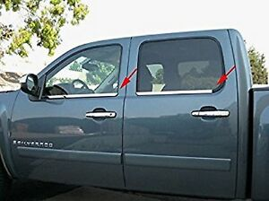 TFP 35785BL Chrome Window Sill Trim Cover for Silverado/Sierra 1500 4Dr Crew Cab