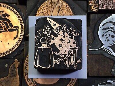 Antique Sorcerer Wizard Crystal Ball Letterpress Print Type Cut Ornament Block