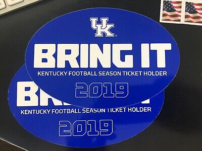 TWO 2 UK KENTUCKY WILDCATS STICKERS 2019 FOOTBALL SEASON TICKET HOLDER STH