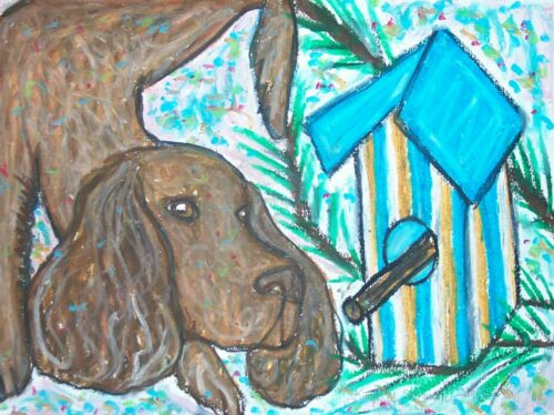 AMERICAN WATER SPANIEL with Birdhouse Dog Outsider Pop Art 8 x 10 Signed Print