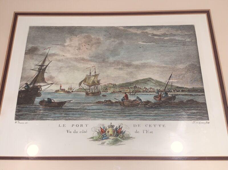 Antique Print CETTE (SÈTE) FRANCE PORT by N. Ozanne/Gouaz Double-Matted, Framed!