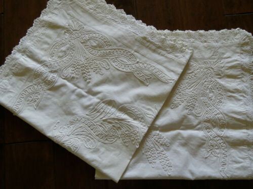 Vintage Victorian Pillow Shams White Work Embroidery