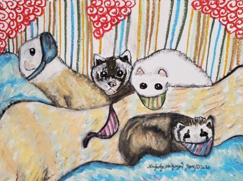 Ferret in Quarantine Mask Art Print 5  x7 Small Pet Collectible by Artist KSams