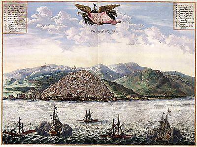 Vögel von Alger in 1600s Algerien Groß Bild Antik Alte Karte Plan Neu