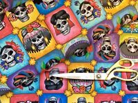 Alexander Henry Alegria Mexican Sugar Skull FQ//Metre in Aubergine