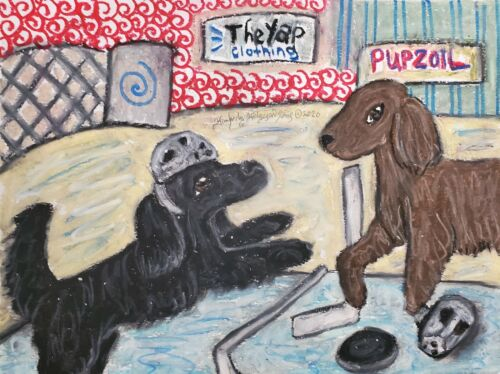 Flat Coated Retriever Playing Hockey Original 9x12 Painting Dog Collectible Art