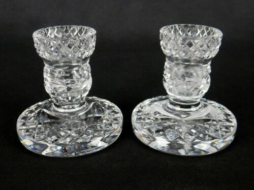 """Pair Of Vintage Crystal Glass Candle Holders, Low Profile, Diamonds, 1.25"""" Mouth"""