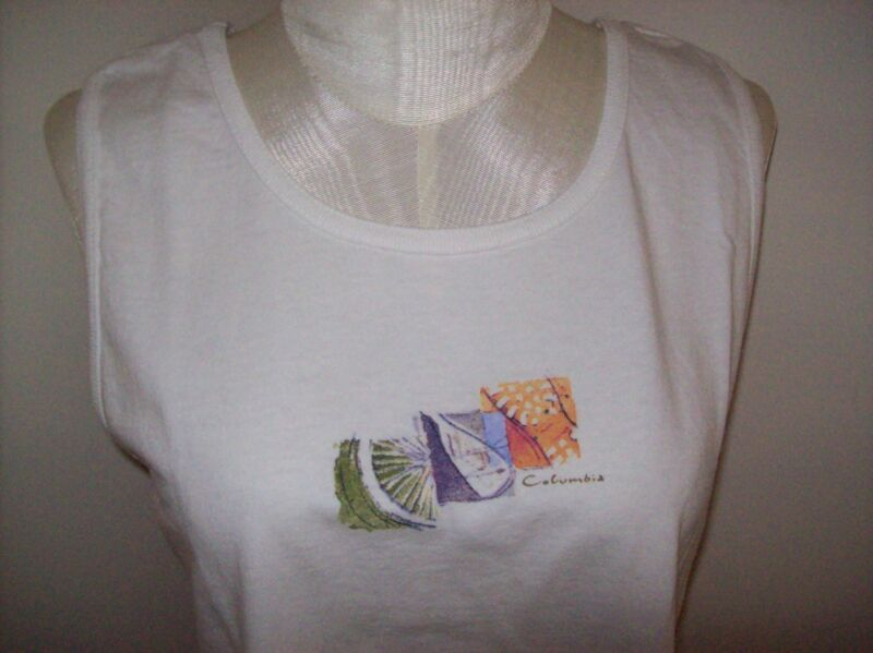 "NWT Sleeveless Top/Blouse S/36"" 100% Cotton White Columbia Sportswear"