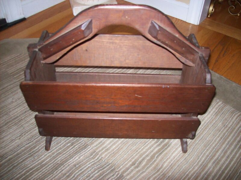 Antique Wooden Magazine Rack  16 x 9 Solid Wood