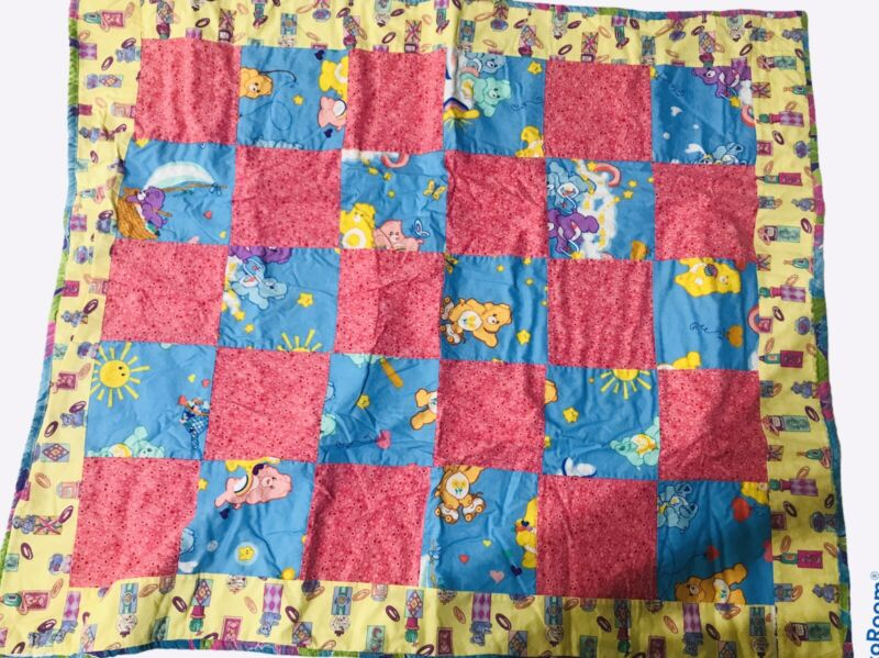"""Carebears Baby Infant Quilt Blanket Squares 36""""x30"""""""