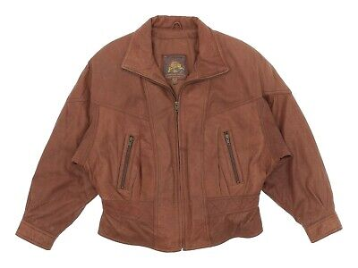 ADVENTURE BOUND Bomber Leather Jacket L Large Womens Flight Jacket Motorcycle