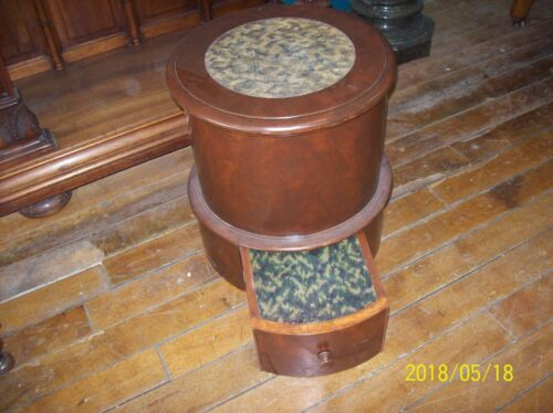 Antique Bed Step~Potty~Chamber Pot~Stool- Commode  Embroidered 19 Century