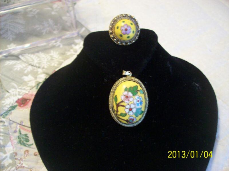 Ring & Necklace Set Vintage Silver Handpainted  Porcelain with Filigree Back