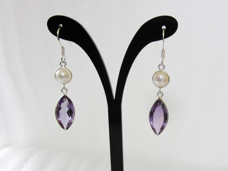 Amethyst & Freshwater Pearl Earrings in Sterling Silver