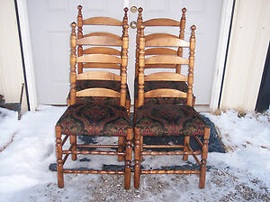 Set-of-4-Solid-Cherry-Ladderback-Dinette-Chairs-DC49