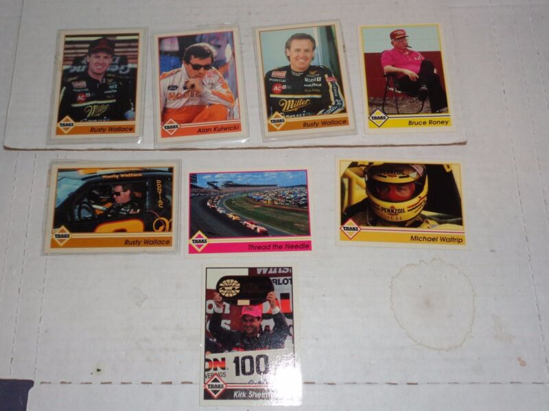 Lot of 8 NASCAR TRAKS Trading Collector Cards Kulwicki M Waltrip R Wallace etc.