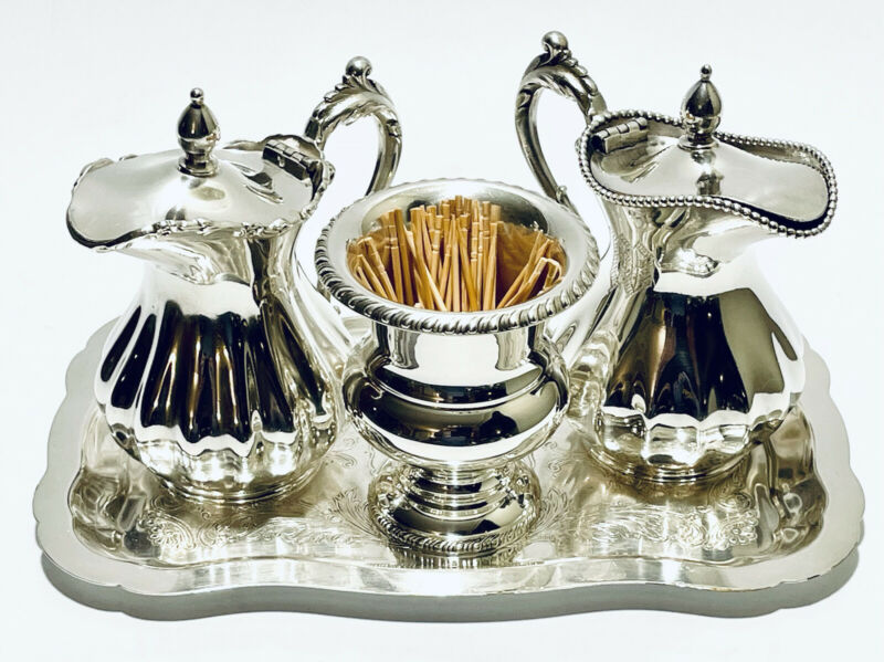 Assorted Antique Set of 4 Antique Jugs, Toothpicks Holder, Tray Silver  Plate