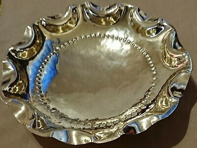 Vintage Brass Fruit Bowl With Ball Feet Hammered