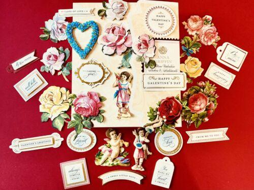Anna Griffin Mini Valentine Sentiments, Embellishments Stickers+ Red Bonus Cards