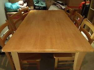Rubberwood dining table and 6 chairs in reasonable condition Docklands Melbourne City Preview