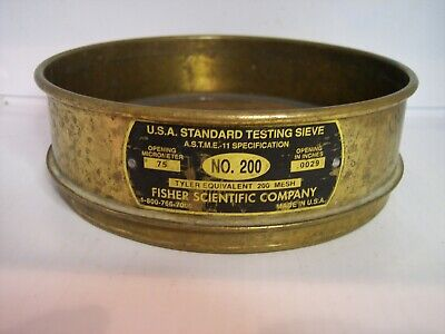 8 Id U.s.a. Standard Testing Sieve No.200 Screen 75mm Or .0029 Fisher Co.